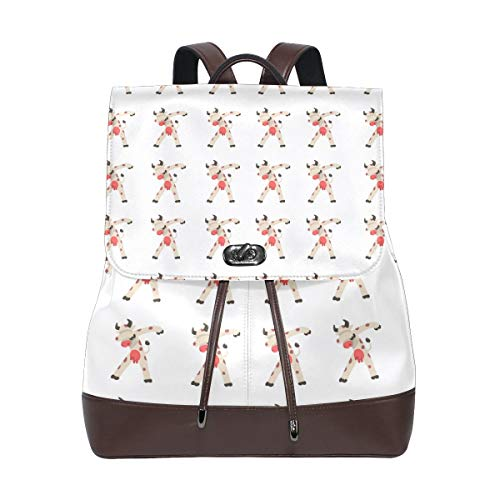 Leather fashion Interesting Tapping Cow backpack For Work/Travel/Leisure/school bag ()