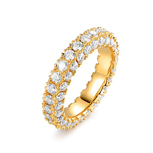 Barzel 18k White Gold or Rose Gold Plated Cubic Zirconia Eternity Band Ring Cocktail Jewelry (Gold, 9)