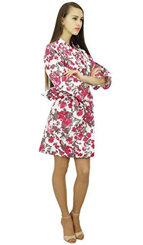 Amoghah Mujeres Novia Dama De Encubrimiento Regalo Corta De Algodón Traje Del Kimono Del Vestido De Noche Blanco y rosa