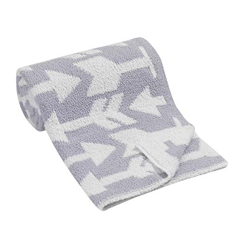 Lambs & Ivy Arrow Print Gray/White Luxury Chenille Baby Blanket