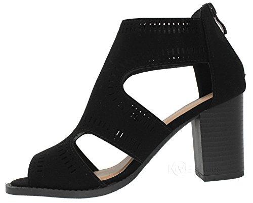 506ef115170 MVE Shoes Women s Open Toe Cut Out Mid Heel Sandal - Ankle Strap Faux  Leather Dress