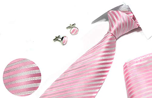 TIGER MAMA Mens Business Tie, Cufflinks, Pocket Square Set (T-2)
