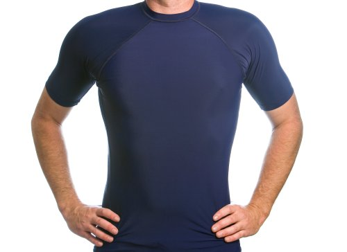 Beach Depot Men's Navy Short Sleeve Rash Guard SPF 50+ Swim Shirt