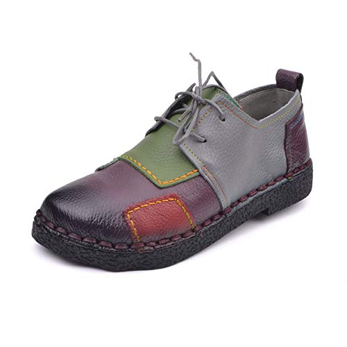 soft leather low FLYRCX women's shoes bottom comfortable Handmade shoes purple matching shoes flat straps color platform casual heeled qt48gp54