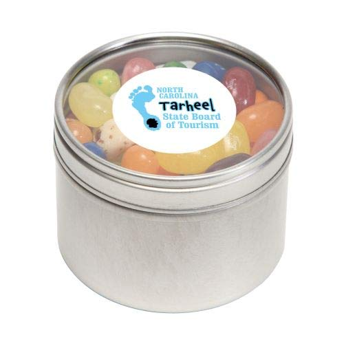 Jelly Belly Candy in Sm Round Window Tin-bundles of 250,500,1000,2500 per package