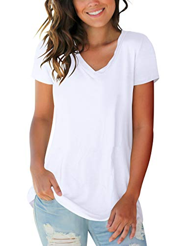 Womens Tops Solid Color V Neck Short Sleeve Basic Tee Shirts