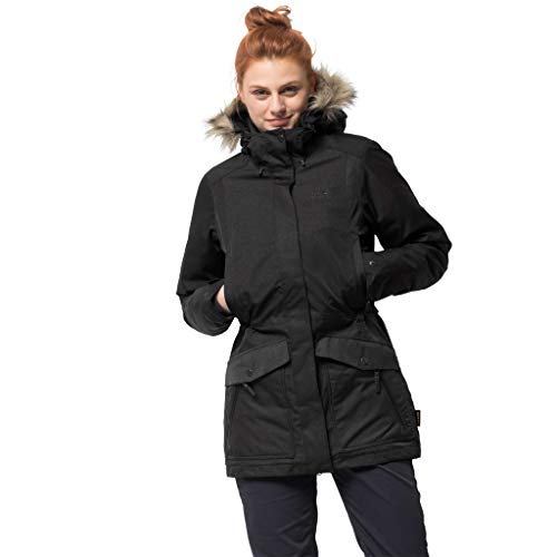 (Jack Wolfskin Women's Coastal Range Parka Waterproof Insulated Jacket, Black, XX-Large)