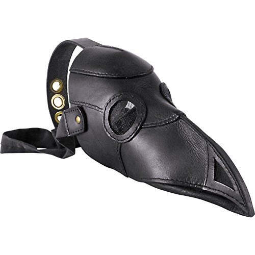 Armor Venue: Leather Plague Doctor Mask Leather Mask and LARP Costume Black One Size