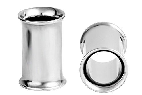 Set of 2G Surgical Steel Ear Gauges, 2 Gauge 6mm Double Flared Saddle Tunnel Plug (Surgical Steel Double Flared Plug)