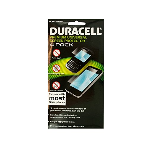Duracell Universal Smartphone Screen Protector Set for All Phones - Retail Packaging - 4 pack