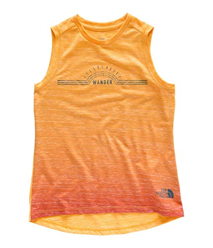 Face Print The North Jersey - The North Face Girl's Long and Short of It Tank, Atomic Pink Ombre Print, Size S
