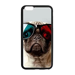 iPhone 6 Plus 5.5 Inch Case Cover,Plastic and TPU Durable Funny Pug with Colorful Sunglasses Case Cover for iPhone 6 Plus (Laser Technology)