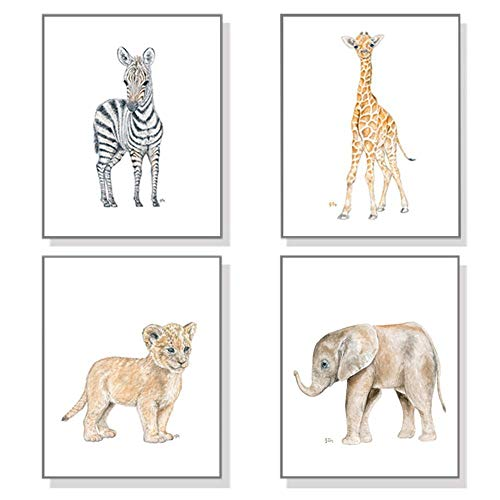 Art Signed Matted Print - Safari Nursery Prints Set of 4 Unframed; Original Baby Animal Watercolor Art Prints Signed By Artist; Select Your Animals, Size and Orientation