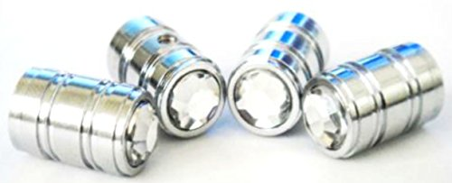 "(4 Count) Cool and Custom ""Round Clear Rhinestone Top with Easy Grip Texture"" Tire Wheel Rim Air Valve Stem Dust Cap Seal Made of Genuine Anodized Chrome Metal {Silver Color} ''Anti Theft Locking'' by mySimple Products"
