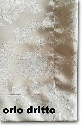 Nappe Anti-Tache Infroissable RICAMI FIORENTINI BALDI Anthracite 33 Texture Robuste Ovale cm 140x220 Fabrication Artisanale en Italie
