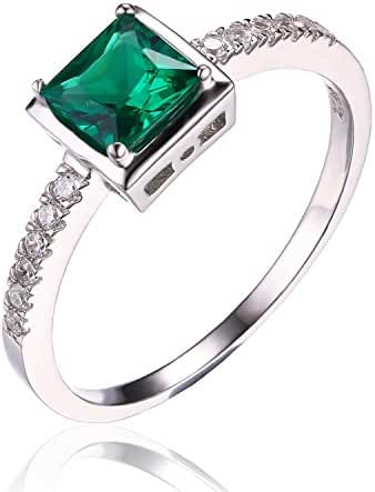 JewelryPalace Nano Russian Simulated Emerald Ring 925 Sterling Silver