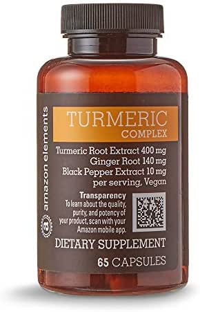 Amazon Elements Turmeric Complex, 400mg Turmeric Curcumin, 140mg Ginger, 10mg Black Pepper, 65 Capsules (2 month supply)
