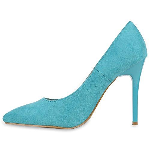 Stiefelparadies Spitze Damen Pumps Stiletto High Heels Metallic Schuhe Lack Absatzschuhe Elegante Abendschuhe Abiball Flandell Türkis Velour