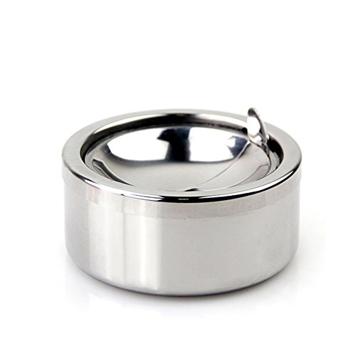 Kinger_Home Stainless Steel Ashtray with lid, Cigarette Ashtray for Indoor or Outdoor Use, Ash Holder for Smokers, Desktop Smoking Ash Tray for Home office Decoration (Silver)