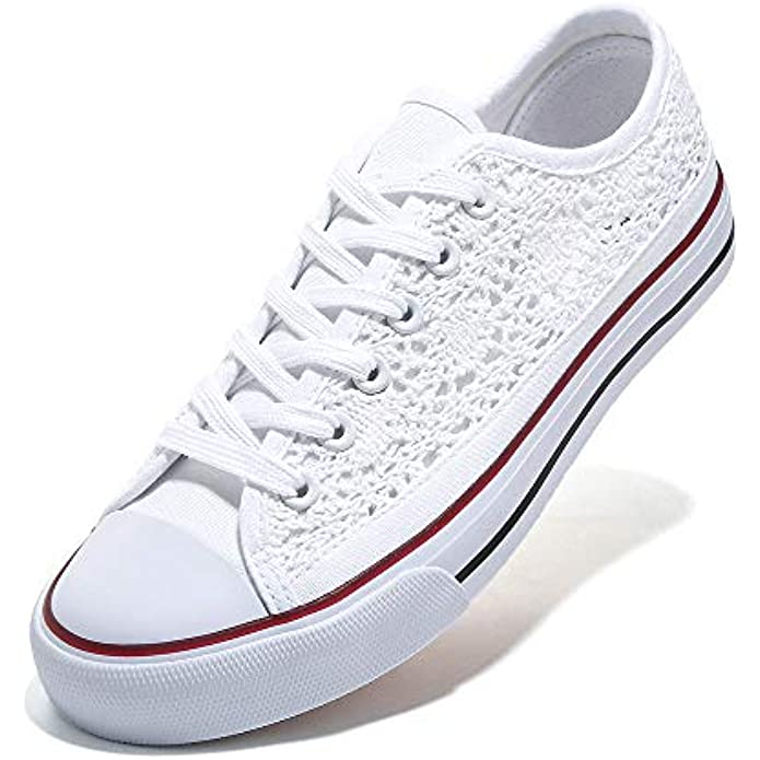 ANQILA Womens Canvas Low-top Sneakers Women Fashion Lace-up Classic Shoes…