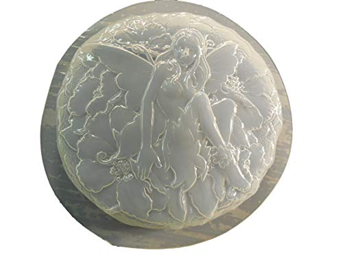 Round Fairy Stepping Stone Concrete or Plaster Mold 1339
