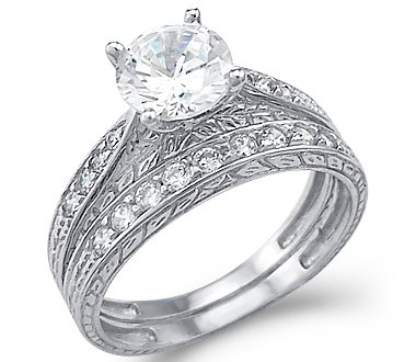 Amazon New Solid 14k White Gold CZ Cubic Zirconia Engagement