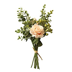 Mida INS Eucalyptus Rose Bouquet Artificial Flowers, for Wedding Bouquet, Flower Arrangements, (Beige) 73