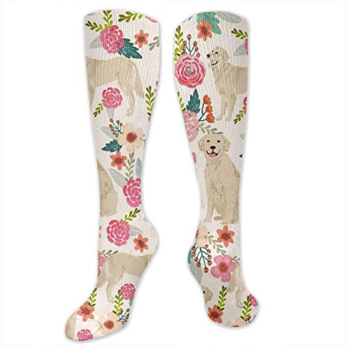 (Golden Retriever Floral Dogs Dress Socks Funny Stockings Crazy Socks Casual Cotton)