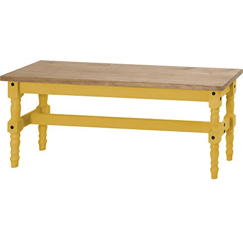 Manhattan Comfort Jay Collection Traditional Wooden Dining Table Bench With Trim Finish, Yellow/Wood