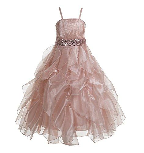 Weddings Organza - ekidsbridal Wedding Stunning Organza Spaghetti-Straps Pleated Ruffled Flower Girl Dress Easter Toddler Bridal Pageant 009