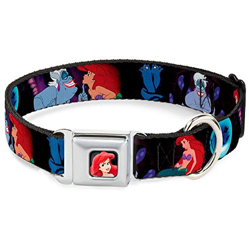(Buckle Down Dog Collar DYP-Ariel Close-UP Full Color - The Little Mermaid Ariel & Ursula Scenes - Large 15-26