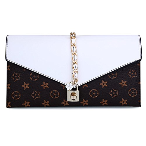 Women Flower Lock Evening with Handbag Wristlet Clutch Evening Bag UNYU Oversized Designer White ZxdCqHxw