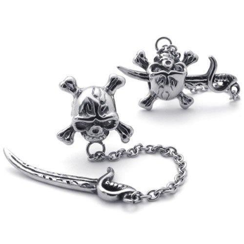 KONOV Vintage Stainless Pirate Earrings