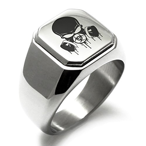- Stainless Steel Biohazard Skull Gas Mask Engraved Square Flat Top Biker Style Polished Ring, Size 16