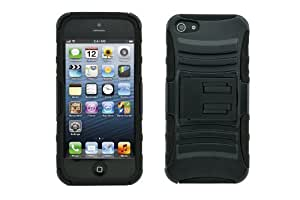 Tech Armor Apple iPhone 5 Black Rugged Series Case with Stand and Belt Clip - Retail Packaging