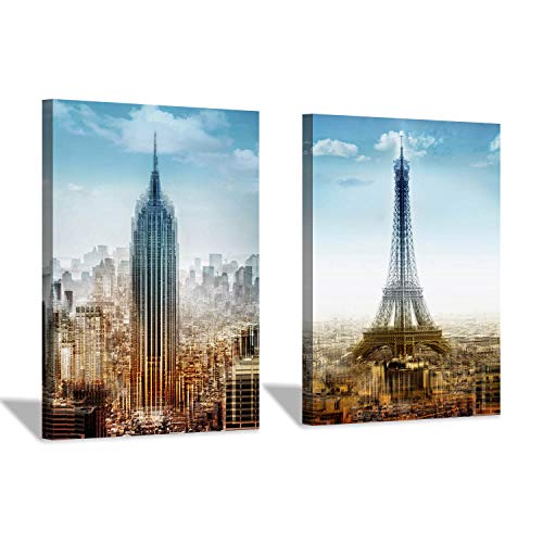 Hardy Gallery Cityscape Wall Art Canvas Print: Paris Eiffel Tower & Empire State Building New York Artwork Painting for Wall Decor(12''x16''x2pcs/Set)