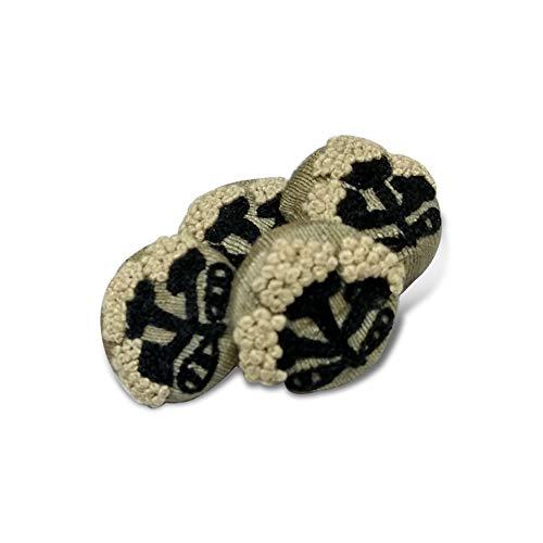 Jacknjewel handmade buttons for ladies kurti using threads & Zardosi, Aari work (Black & White color, pack of 4 pieces)