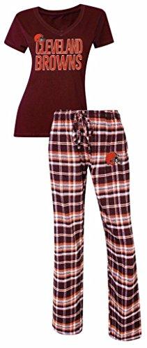 Cleveland Browns NFL Women's Shirt and Pajama Pants Flannel PJ Sleep Set XL 16-18