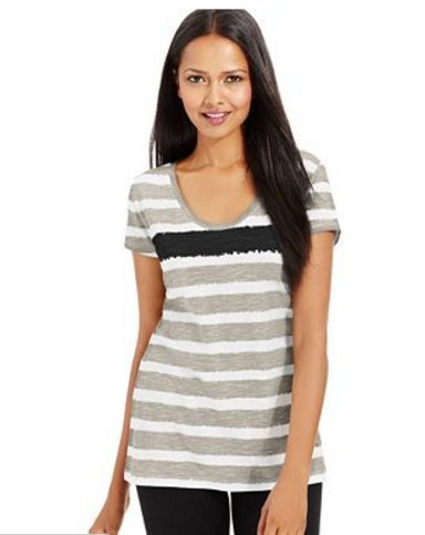 Style & Co. Sport Short-Sleeve Striped Tee S -  Charter Club