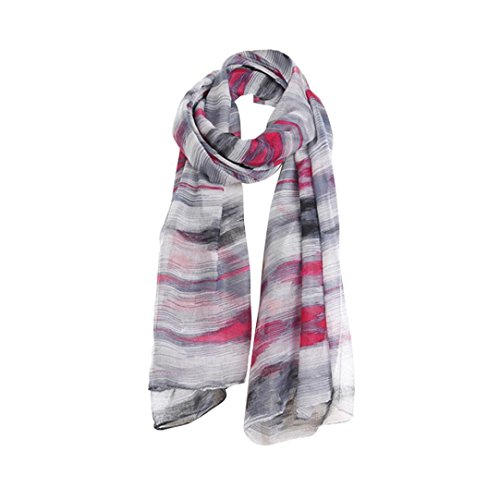 Lattice Stripe Silk (Livoty Women Ladies Stripe Print Pattern Lace Long Scarf Warm Wrap Shawl (C))