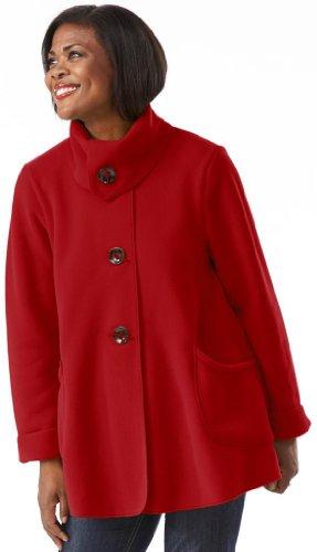 The Most Perfect Fleece Swing Coat - Women's Tie Button Jacket - Medium - Red -