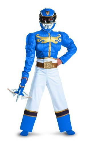[Disguise Power Ranger Megaforce Blue Ranger Boy's Muscle Costume, 7-8] (Power Rangers Megaforce Halloween)