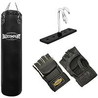 Pro MMA-Set inkl. Boxsack 150 x 35cm ungefüllt, PU MMA Handschuhen, Deckenhalterung und Heavy Duty Vierpunkt-Stahlkette