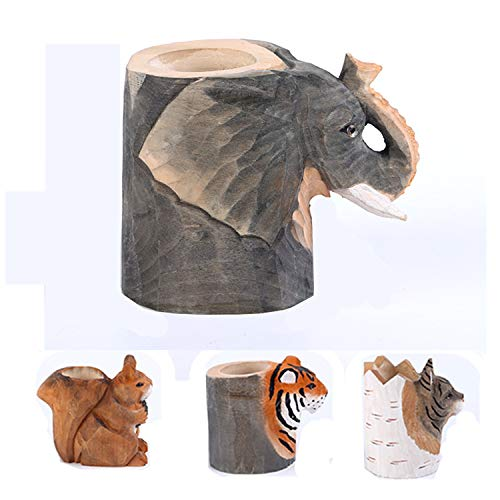 uhmhome Handmade Pen Pencil Holder Cup Cute Wood Desk Organizer Storage Box Makeup Brush Holder Kitchen Utensil Holder Ornament Animal Pattern for Home and Office (Elephant)