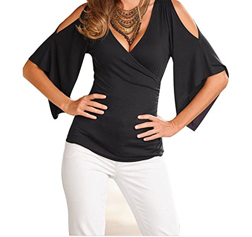 PEGGYNCO Womens Black V Neck Slit Sleeve Wrap Top Size L