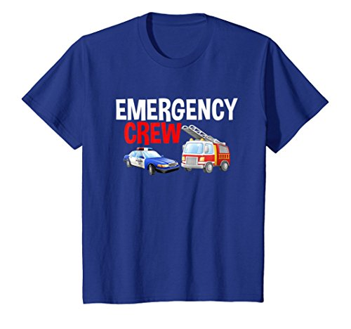 Kids Emergency Crew Fire Truck & Police Car Graphic T-Shirt 4 Royal Blue -