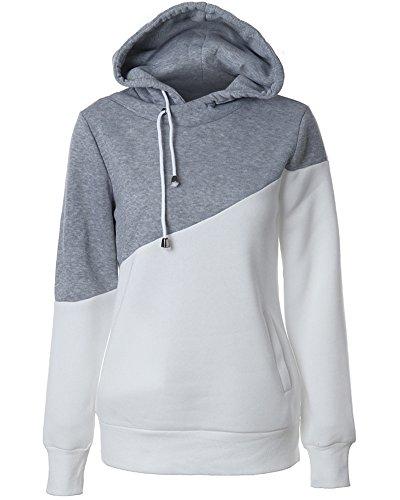 Mujeres Clasica Splice Capucha Sudaderas Manga Larga Hooded Sweatshirt Pullover Gris