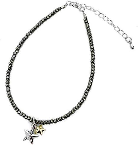 [해외]발목 장식 남성 액세서리 더블 스타 실버 골드 매력 발목 비즈 팔찌 / Anklet Men`s Accessories Double Star Silver Gold Charm Ankle Bead bracelet