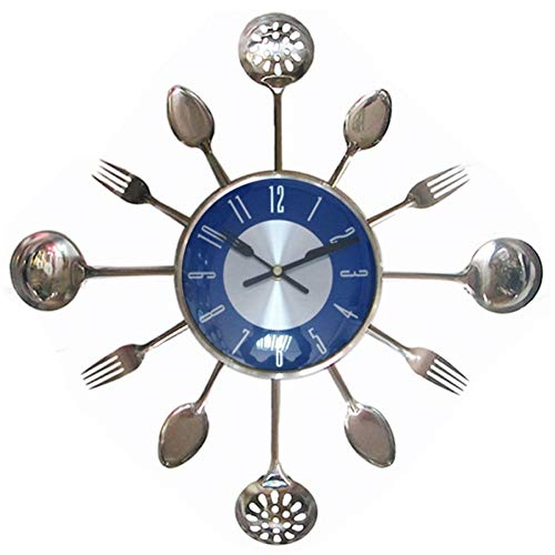 WEIYYY 18Inch Large Decorative Wall Clocks Metal Spoon Fork Kitchen Wall Clock Cutlery Creative Design Home Decor