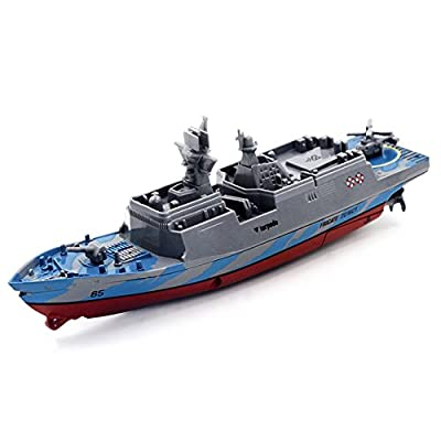 Qiyun Electric Toys Remote Control Military Warship Model 2.6G Waterproof Mini Aircraft Carrier/Coastal Escort Gift for Kids specification:Gray coastal escortspecification:Gray coastal escort
